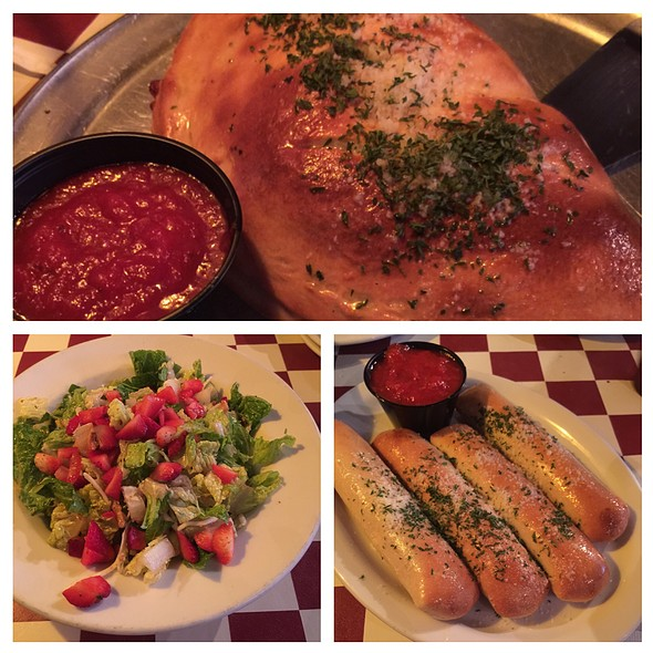 Old Town Calzone, Strawberry Walnut Salad, Olde Town Stuffers Breadsticks