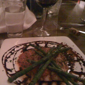 Grouper With Asparagus, Marinara And Balsamic Reduction