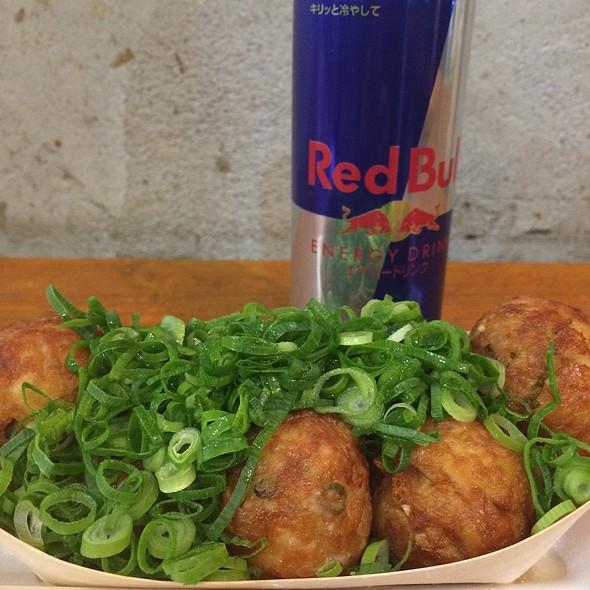 Green Takoyaki And Red Bull
