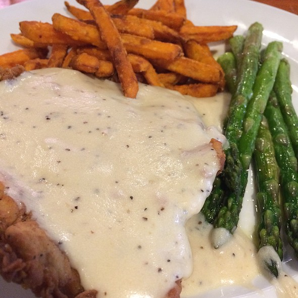 Chicken Fried Chicken With Sweet Potato Fries And Asparagus