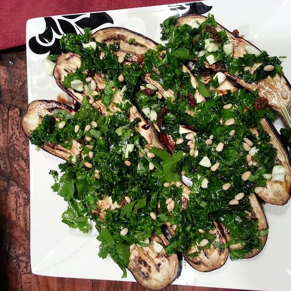 Roasted Eggplant With Kale, Fresh Mozzarella, Pine nuts