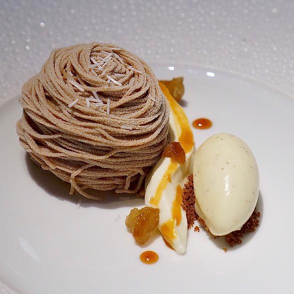Mont blanc, chestnut crémeux, rum-candied chestnut, Tahitian vanilla ice cream