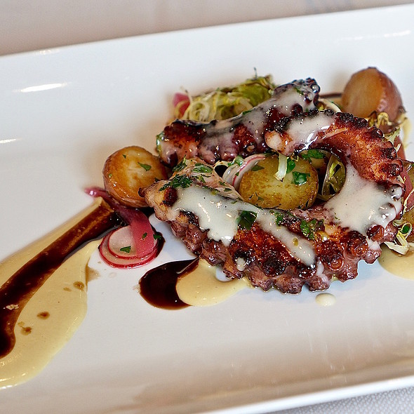 Polipo –grilled octopus, smoked potatoes, pickled red onion, radish, chilies, tonnato