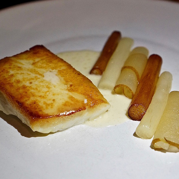 Halibut poached with salsify, pear and brown butter