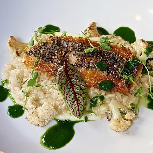 Black sea bass, cauliflower risotto, herb sauce