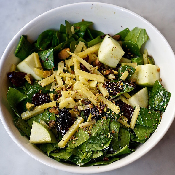 Chopped salad, field spinach, green apple, dried cherries, toma celena, pistachio