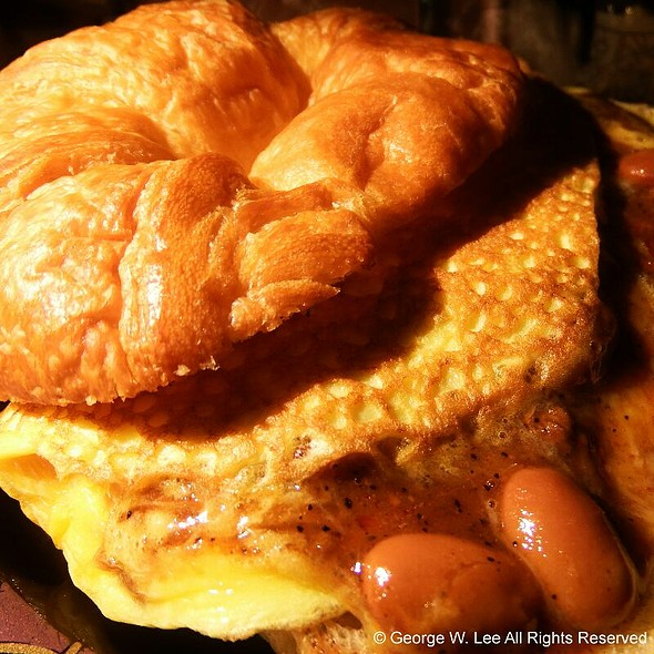 Chili One Egg Omelette on a Toasted Butter Croissant