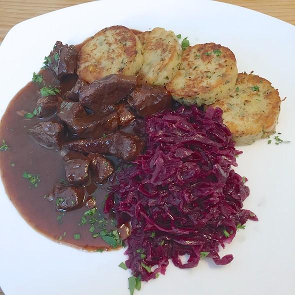 Ragout of Stag Deer, pan fried Dumplings and red Cabbage