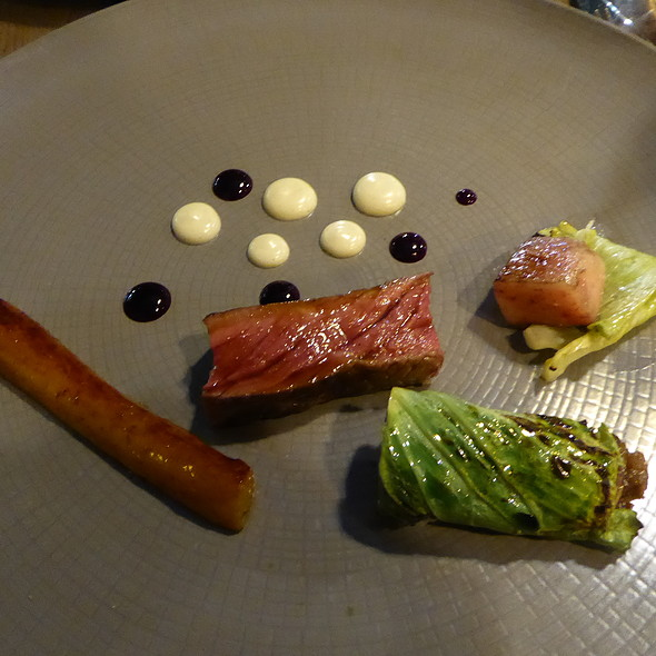 Beef, bone marrow, oxtail, salsify, cabbage