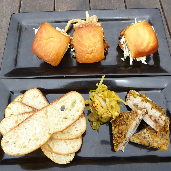 Pulled pork sliders, chicken and fig terrine, baguette and pickle