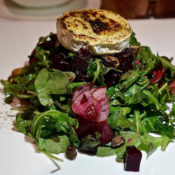 Beet and arufula salad, shaved baby chioggia, bruleed chevre, pistachio vinaigrette