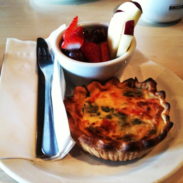 Spinach And Tomato Quiche With Fruit Cup @ Bikes, Beans and Bordeaux Neighborhood Cafe