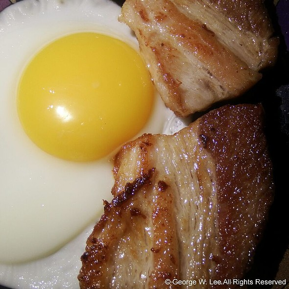 Crispy Pork Belly with Egg Sunny Side Up