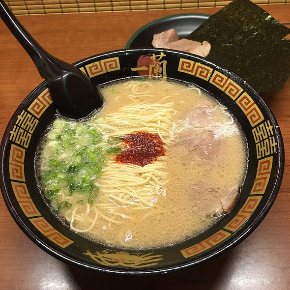 Tonkotsu Ramen  Not to be confused with tonkatsu (breaded porkchop) this Tonkotsu Ramen is one of the main types of ramen broth, along with Shio, shoyu and miso broth. This tonkotsu broth is made with pork bones boiled for hours which renders the broth