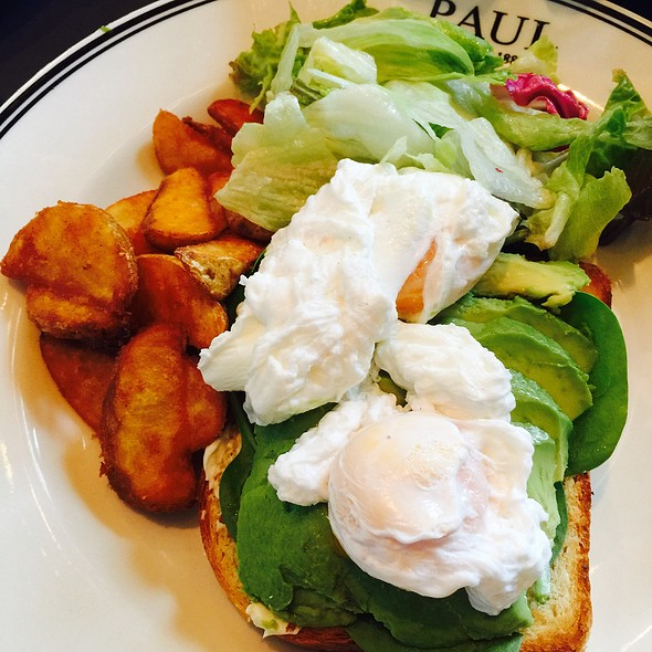 Poached Eggs On Avocado Toast @ Paul Cafe