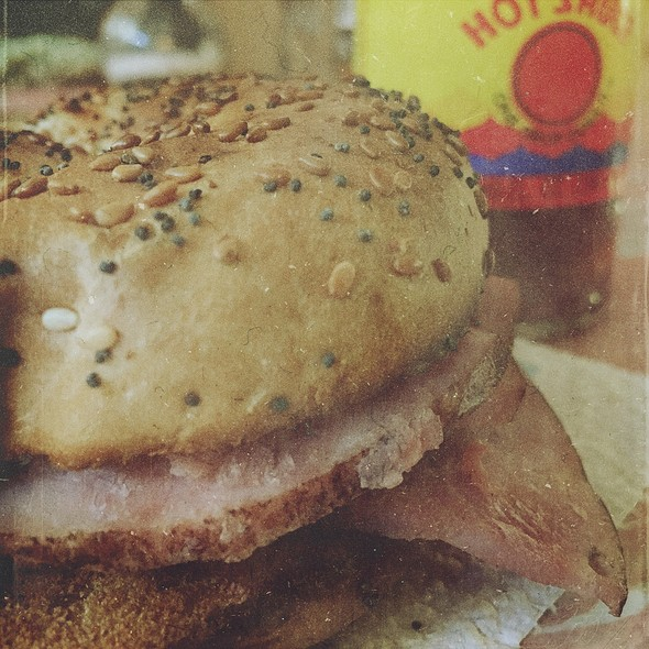 Ham Egg and Cheese Breakfast Sandwich on Everything Bagel @ Home