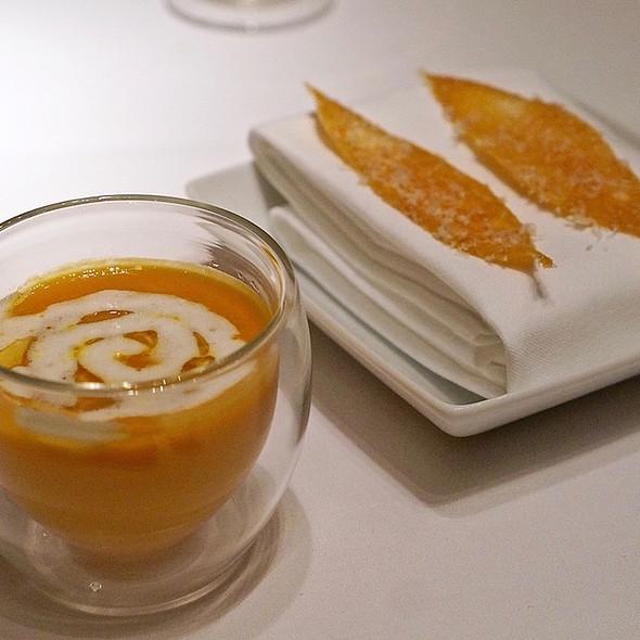Butternut squash soup, brown butter, truffle cream