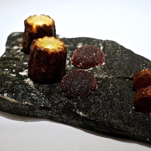 Canelé, blackberry pâté de fruit, chocolate truffle with pink Himalayan sea salt
