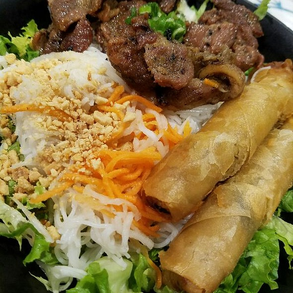 Vietnamese Bun With BBQ Pork And Egg Rolls