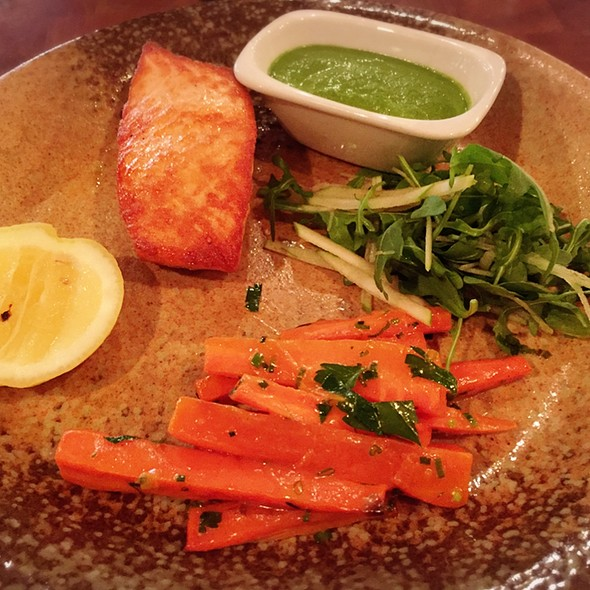 Simply Grilled Salmon A La Plancha with Kale Pesto sauce