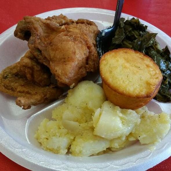 Fried Chicken, Collard Greens, Butter Potatoes, And Corn Bread