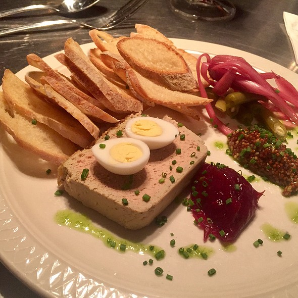 Truffled Chicken Liver Pate With Toasted Crostinis, Dijon Mustard, And Pickled Onion