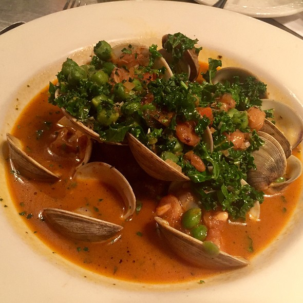 Clams In Tomato Water With Krispy Kale, Chickpeas, And Bacon