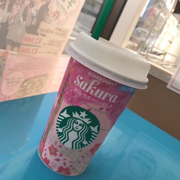 Starbucks Raspberry Milk Latte With Milk Pudding