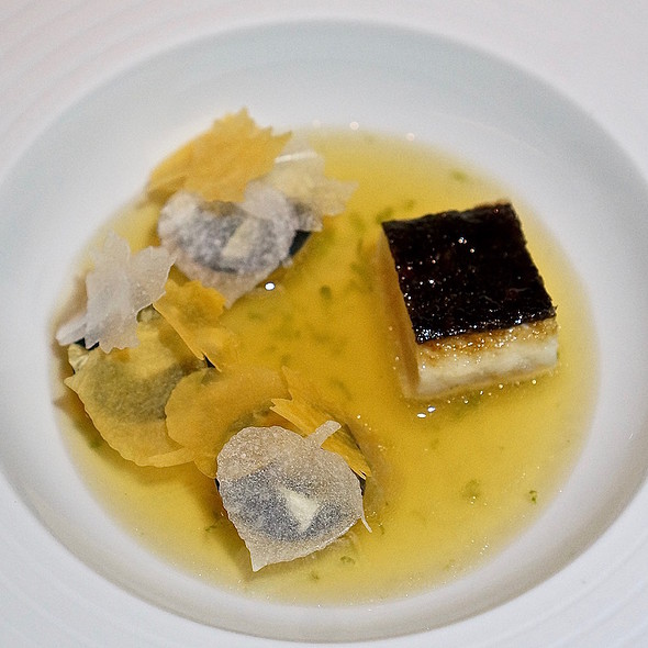 Galinette black chicken skin, squash tortellini, matsutake broth