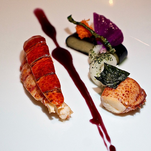 Maine lobster, foie gras in nori and red cabbage, cabernet franc reduction