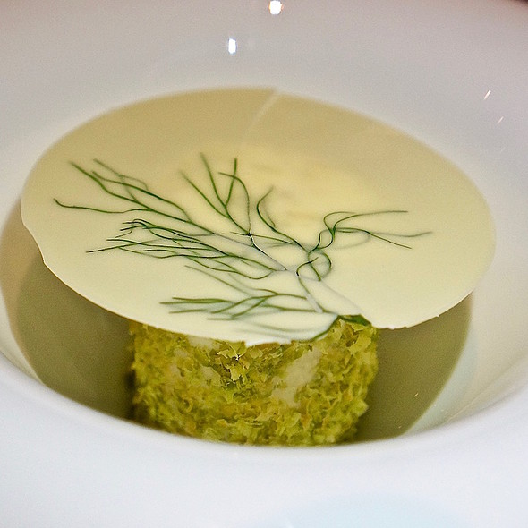 Pistachio ice cream, fennel white chocolate, chartreuse semifreddo