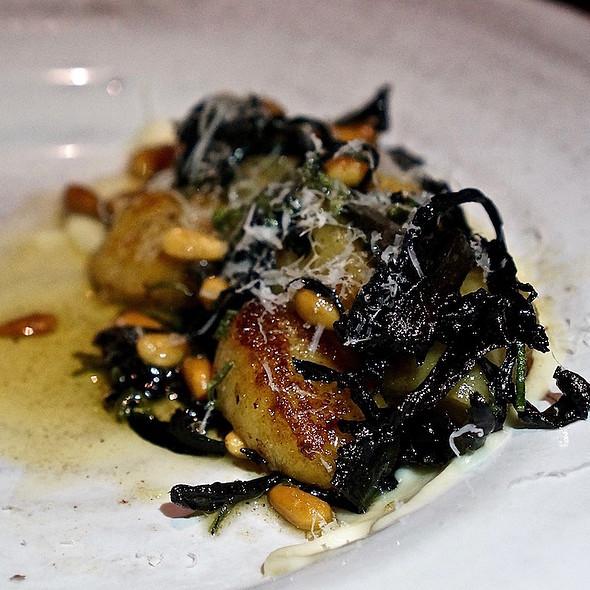 Potato dumplings, black trumpet mushrooms, cauliflower, pine nut, sage