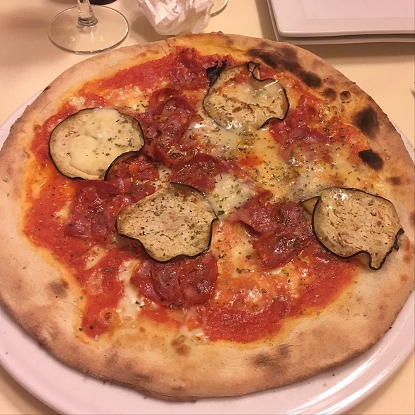 Pizza With Salami And Aubergines @ Da Romeo