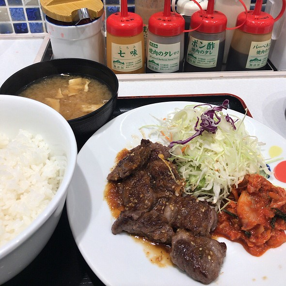 Grilled Beef, Cabbage Salad & Kimchi With Japanese Rice