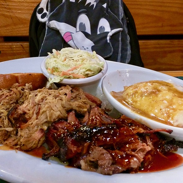 Pulled pork and brisket with coleslaw and mashed potatoes @ Smokey Bones Bar & Fire Grill