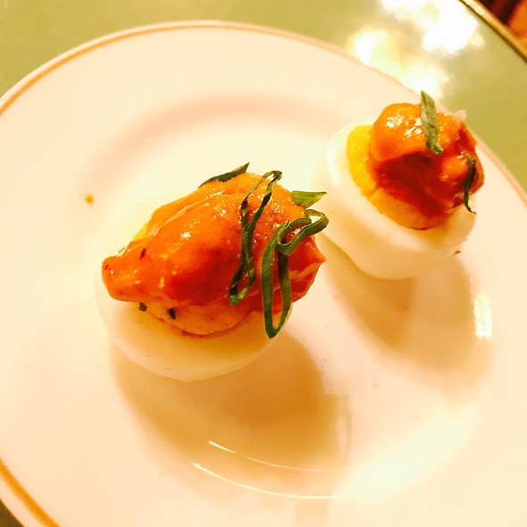 Deviled Eggs W/ Wing Fried Oyster @ Leo's Oyster Bar