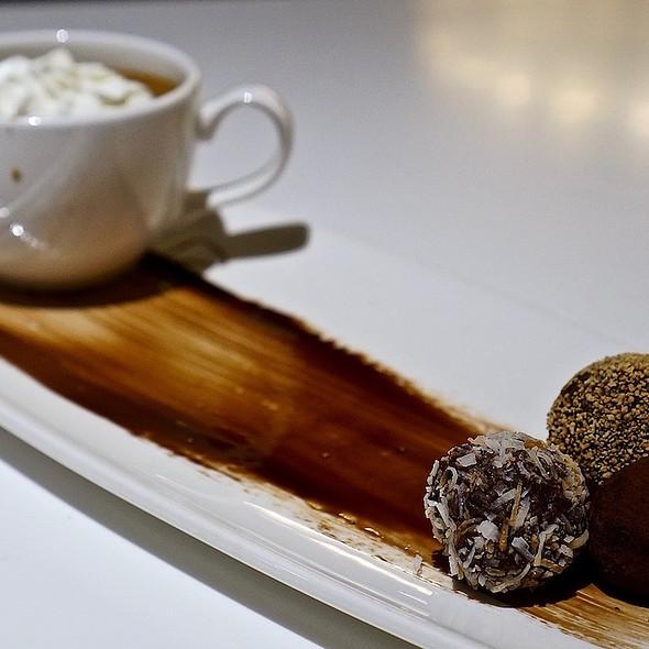 Warm coffee custard, boozy Valrhona dark chocolate truffles