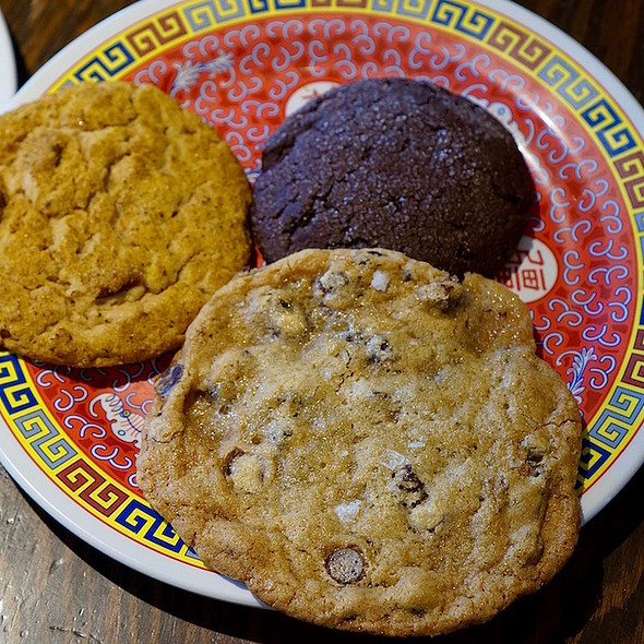 Peanut butter curry pretzel cookie, chocolate chip sea salt marshmallow cookie, peanut butter filled chocolate cookie