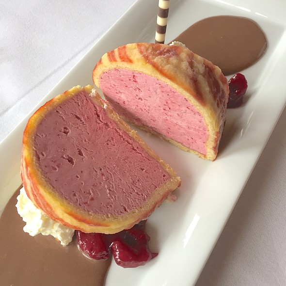 Cranberry Parfait in a Biscuit Coat and Nougat Sauce