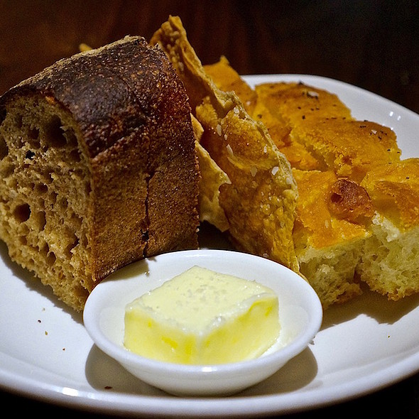 Double malt bread, salt and pepper crackers, herb focaccia