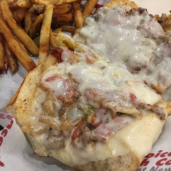 Philly Cheese Steak Loaded With Onions, Peppers, Mayo, Mustard, Pizza Sauce, & Mushrooms @ Penn Station East Coast Subs