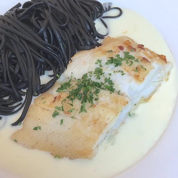 Halibut Steak, Squid-ink Pasta