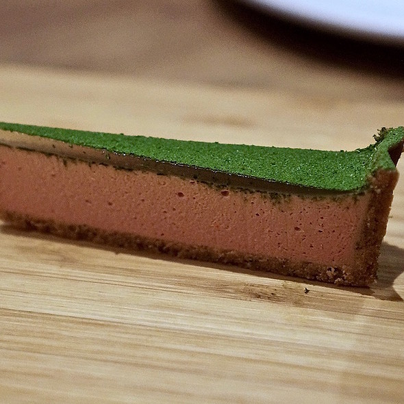 Duck liver tart, buckwheat, salted ramps