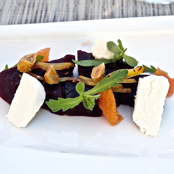 Estate beets, citrus vinaigrette, honey and orange roasted almonds, Nicasio Valley foggy morning cheese, chrysanthemum