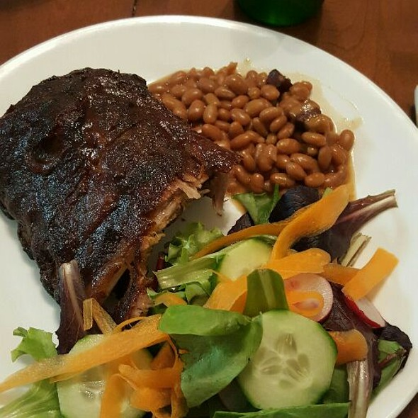 BBQ Ribs, Baked Beans And Side Salad
