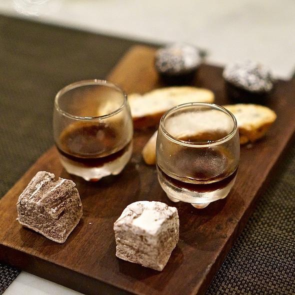 Cocoa marshmallow, nocino liqueur, biscotti, brownie