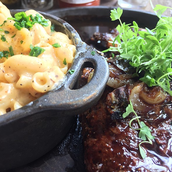 Pepper Crusted Ribeye With Gulf Crab Spiked Mac & Cheese