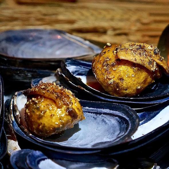 Mussels gougere, saffron, lardo @ Next Restaurant