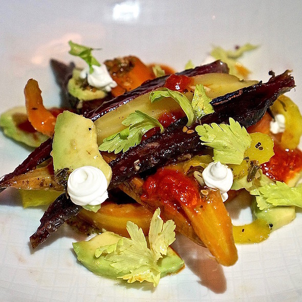 Salt roasted carrots, za'atar, harissa, pickled celery