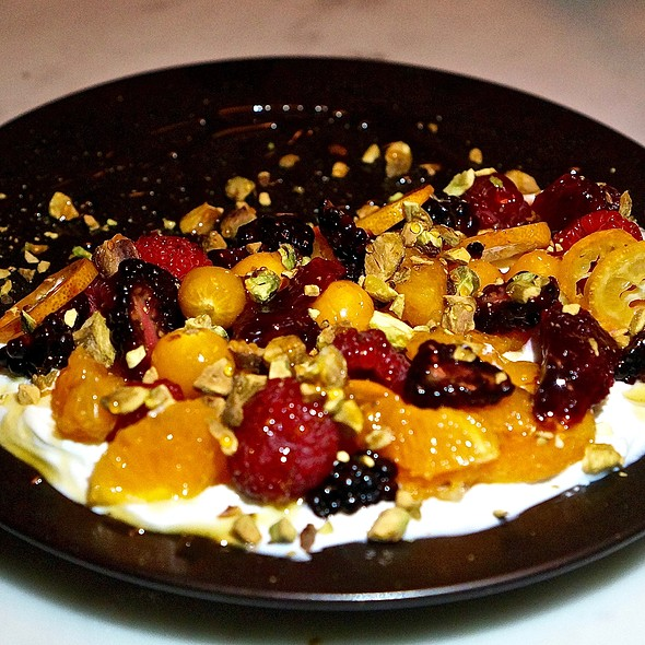 Greek yogurt, seasonal fruit, wildflower honey, pistachios
